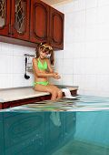 Child girl make mess flooded kitchen imitating swimming pool funny concept poster