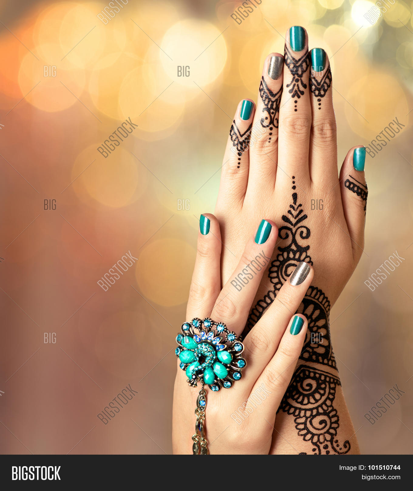 3a9d85def8ef0 Woman Hands with black mehndi tattoo. Hands of Indian bride girl with black henna  tattoos