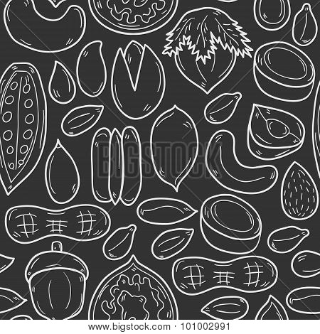 Seamless background with cartoon hand drawn objects on nuts theme: hazelnut, pumpkin and sunflower seeds, peanut, pecan, pistachio, cashew, walnut, acorn, almond, coconut, cocoa. Raw healthy food concept for your design