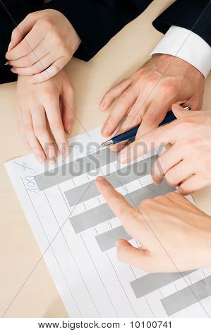 Businesspeople working on charts and graphs