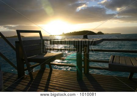 Sunset From Deck In Bora Bora, Tahiti