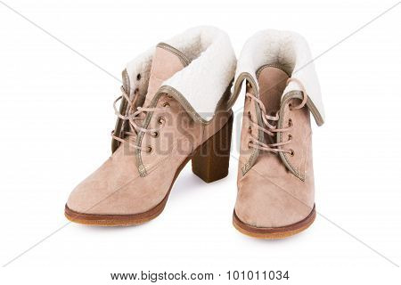 Female Beige Leather Ankle Boots