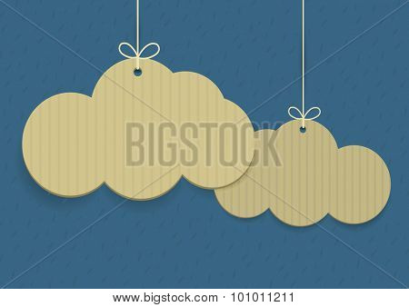 Vector clouds shaped shopping tags on textured background