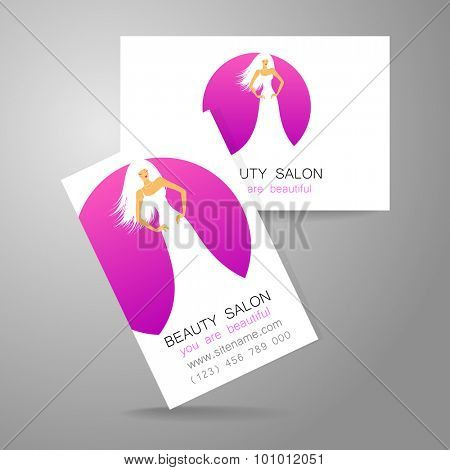 Beauty logo. Design of corporate identity. Template business card for beauty salon, hairdressing salon, spa, women's club and so on. poster