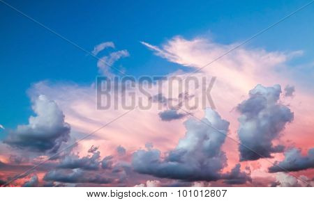 Dramatic Colorful Cloudscape, Summer Evening Sky