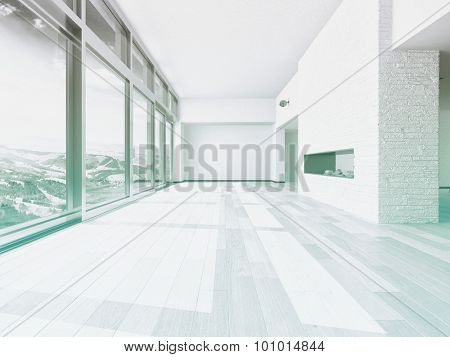 Empty living room interior with a large floor-to-ceiling view window overlooking mountains and a valley with white walls, white wooden floorboards and alcoves in the walls. 3d Rendering.