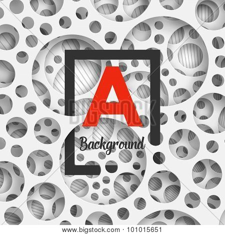 Abstract background holey wall with penetrating square border.