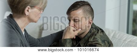 Soldier suffering from postraumatic stress disorder seeing a specialist poster