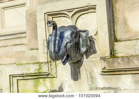 Elefant Head At The Johannes Gutenberg Monument On The Southern Rossmarkt In Frankfurt