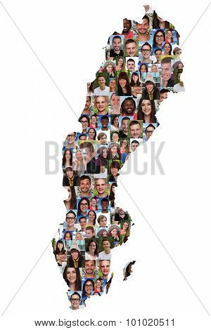 Sweden Map Multicultural Group Of Young People Integration Diversity