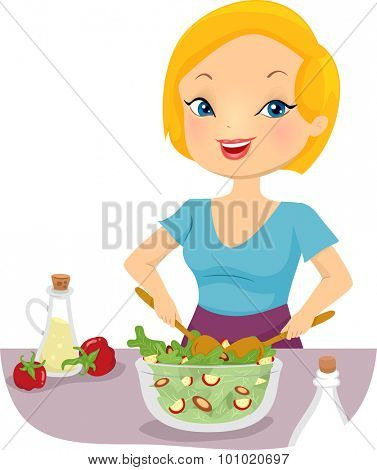 Illustration of a Girl Tossing a Bowl of Salad