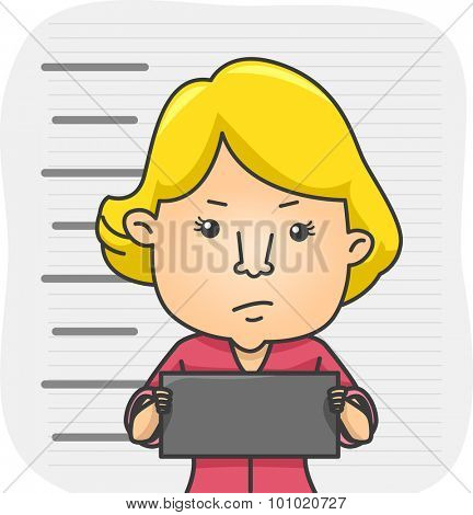 Illustration of a Girl Holding a Name Tag While Her Mug Shot