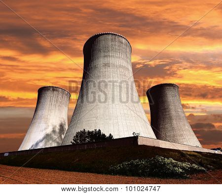Evening Colored View Of Cooling Tower