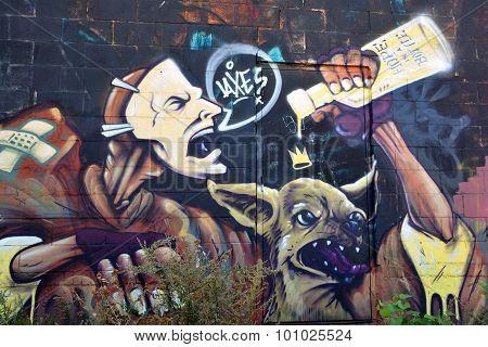 Street art Montreal devil
