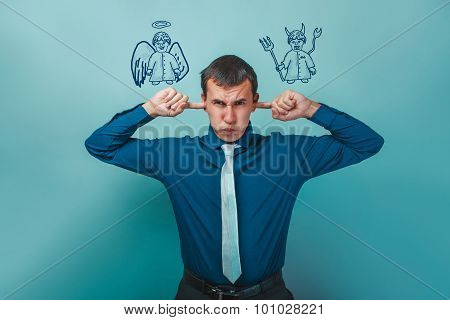 man businessman covering his ears whispers thoughts of an angel