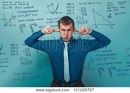 scientist professor teacher covered his ears with your fingers does not want hear the science math formulas tasks infographics studio photo poster