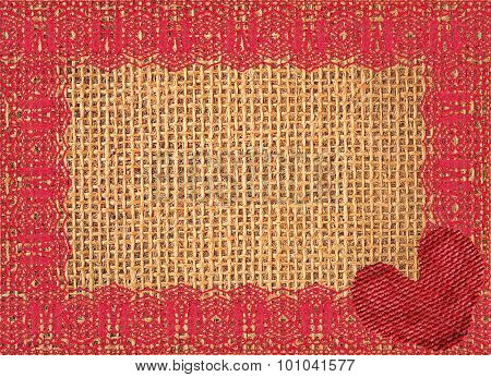 Linen Texture With Lace And Red Heart Background