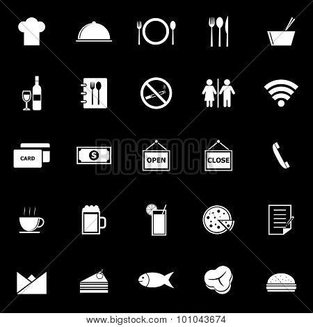 Restaurant Icons On Black Background