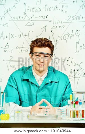Male scientist working in the life science research laboratory (bacteriology, chemistry, genetics, forensics).