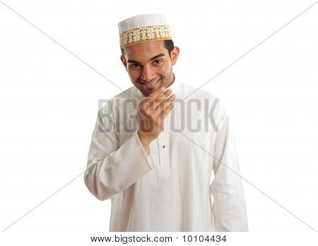 Smiling Ethnic Man In Traditional Robe And Topi