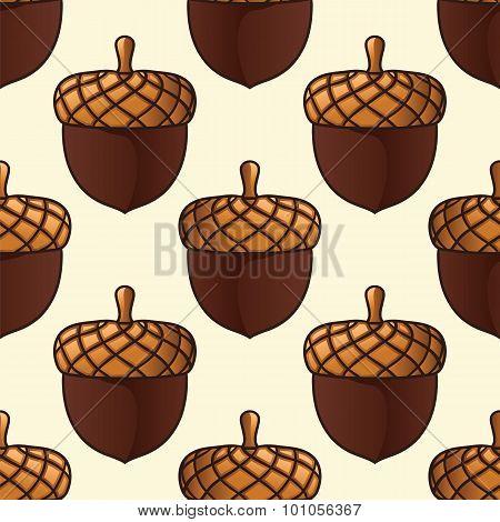 Autumn Acorn Seamless Pattern