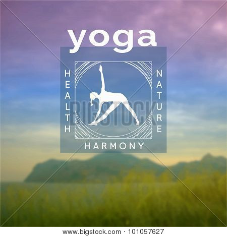 Poster for yoga class with a Crimean landscape.