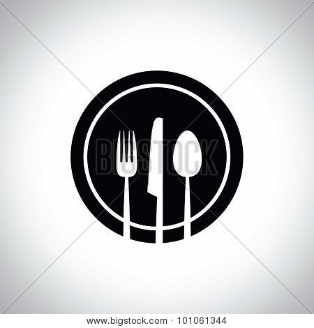 a black and white knife fork and spoon set
