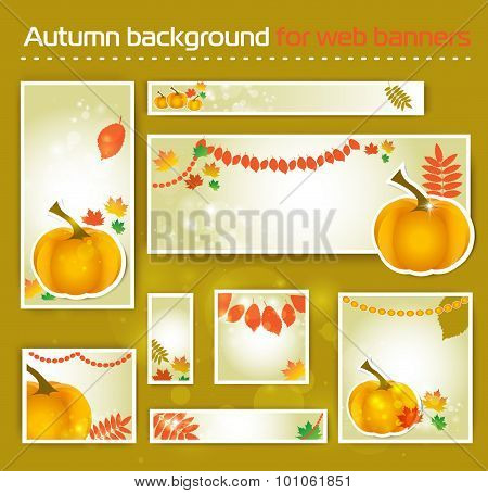 Set for Standard Size Web autumn  Banner for social media, site.