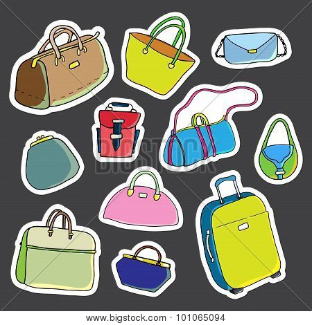 Set of stickers. Women bags. Vector