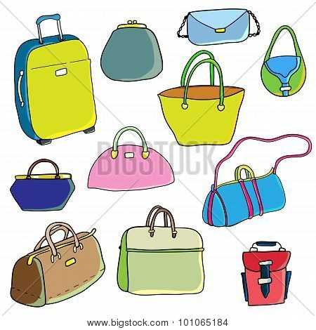 Vector color sketch. Set of bags.