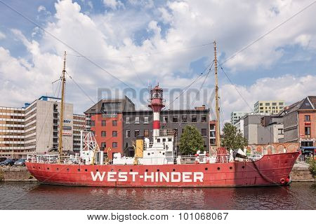 Historic Light Ship In The Harbor Of Antwerp, Belgium