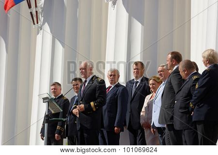 ST. PETERSBURG, RUSSIA - SEPTEMBER 1, 2015: Speech of the Rector of the National Mineral Resources University Vladimir Litvinenko at the meeting dedicated to the Day of Knowledge