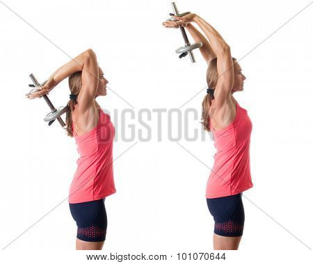 Overhead triceps extension exercise. Studio shot over white.