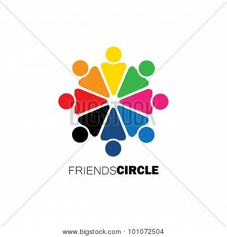 People In Circle, Community Or Team Of Kids, Employees Vector Icons