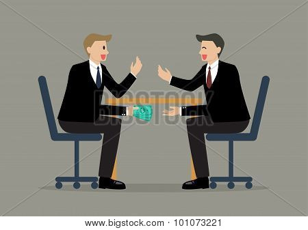 Two Businessmen Passing Money Under The Table