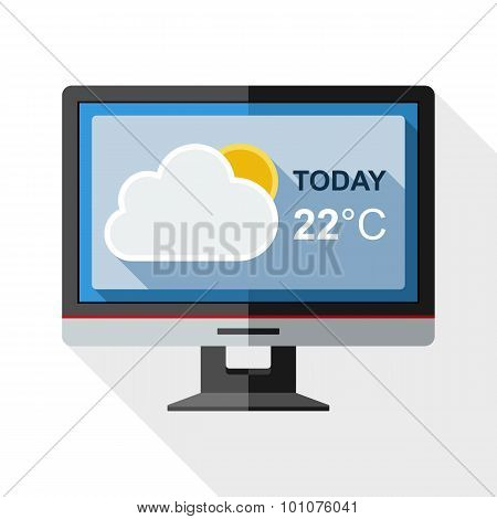 Icon Of Monitor With Weather Widget On The Screen With Long Shadow On White Background