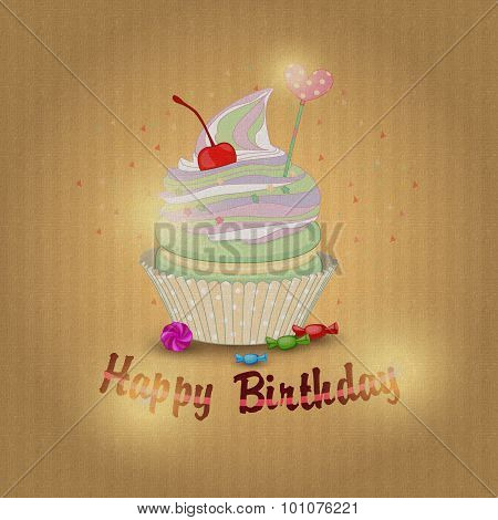 Illustration of a delicious lemon cake for my birthday on textur