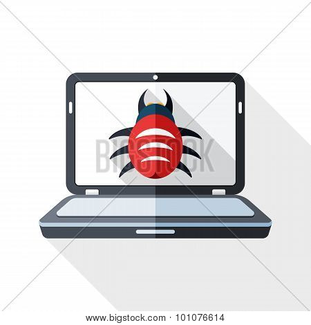 Laptop Icon Infected By Malware With Long Shadow On White Background