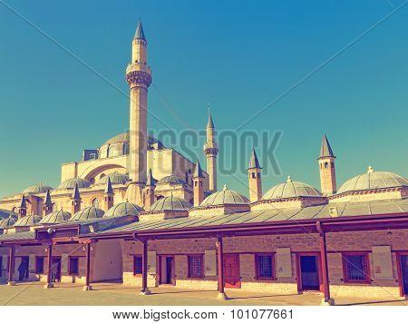 Vintage photo of  Mevlana museum mosque in Konya.