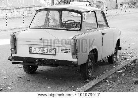 Old Trabant 601S Car Stands Parked On A Street