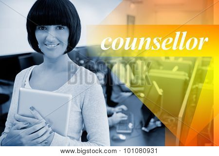 The word counsellor against teacher with tablet pc