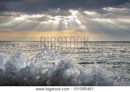 Sea spray. Splashes of sea water. Landscape