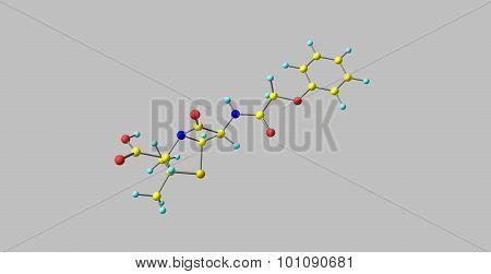 Penicillin V molecular structure isolated on grey