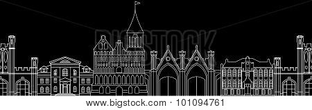 Seamless Pattern With Architectural Monuments.