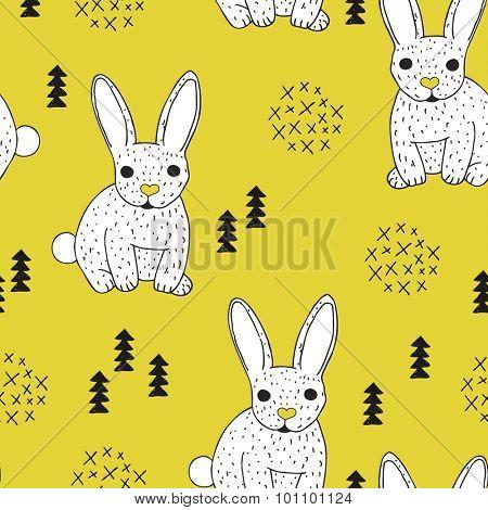 Seamless vintage style bunny kids illustration pattern adorable scandinavian style animal theme mustard background pattern in vector