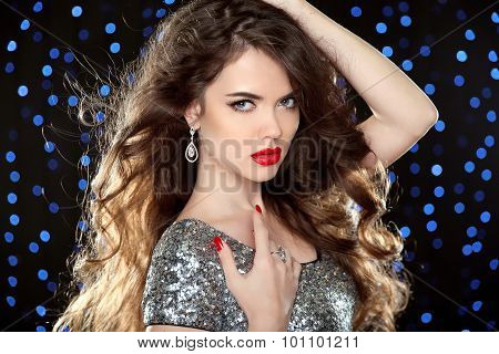 Attractive Girl With Red Lips. Glamour Portrait Of Beautiful Woman Model In Red With Professional Ma