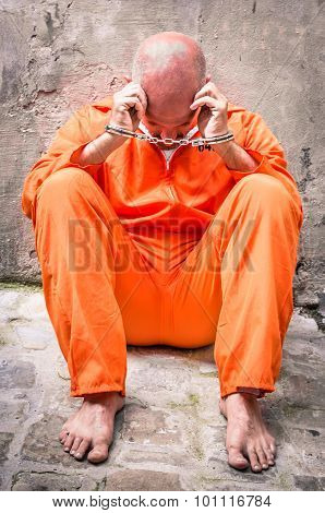 Dead Man Walking - Desperate Man With Handcuffs In Prison
