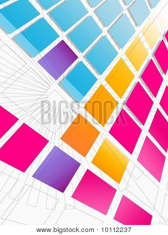 A futuristic tiled multicolored background - useful for flyer designs, cd covers, etc. poster