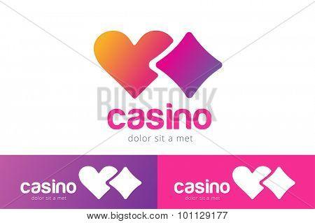 Casino logo icon. Casino poker, cards or casino game and money. Casino vector icons. Casino games. Casino cards. Game cards. Playing casino games. Heart logo,  heart icon
