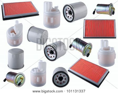 Many car filters isolated on White Background. Automobile spare part